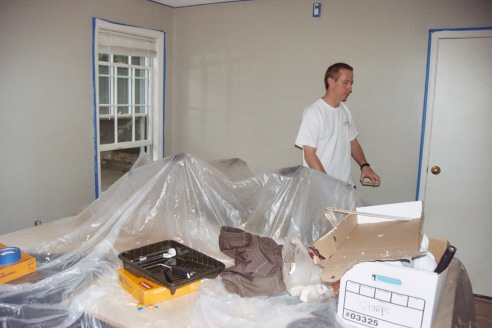 Even after all these years, we wanted to paint our own space.  That's Jimminy Grommet working.  Whistlilng too.
