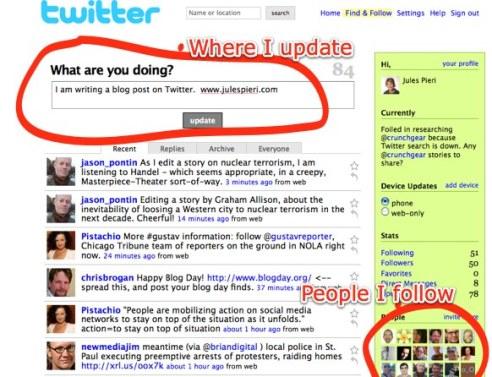 Homepage of Twitter