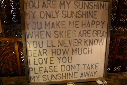 "I had to laugh when I saw these song lyrics.  I rarely used to sing to my boys...I cannot hold a note.  But I used to sing this song, terribly, and with an emphasis on ""you'll never know how much I love you.""  I delivered it like a pitiful accusation and it always seemed to make them laugh.  I asked my son if he remembered that tradition...he did not.  Oh well.  Something you do for the general family vibe, no?"