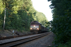 Commuter trains still travel the tracks.   We were also passed by a jogger on the tracks...an odd place to run I thought.