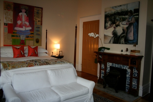 Each room has a sophisticated theme, and is appointed with interesting art from SCAD alum and staff.