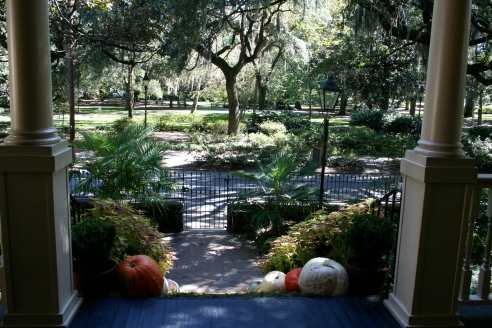 "The view from the front porch of Magnolia House, towards Forsyth Park.  It's where the author of ""Midnight in the Garden of Good and Evil"" stayed while writing the book."