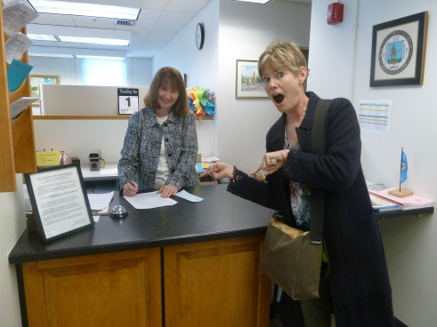 At the Lexington Town Clerk's office, filing our D.B.A. certificate