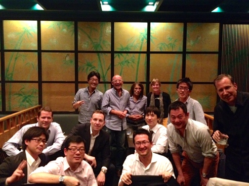Dinner with my new colleagues--we ate Okonomiyaki--loosely described as Japanese pizza