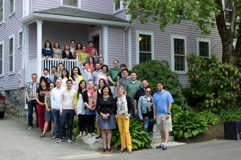The team in front of 6 Wallis Court, where it all began.  We were packed in like sardines.