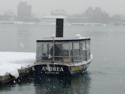 Al, pulling away from my apartment's  dock this week, into another snowfall.