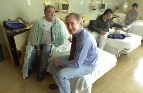Dr. Jim O'Connell and a BHCHP patient. Credit: Jeff Loughlin
