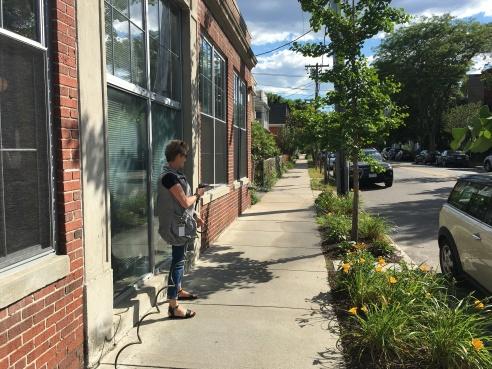 Me, watering our Grommet garden.